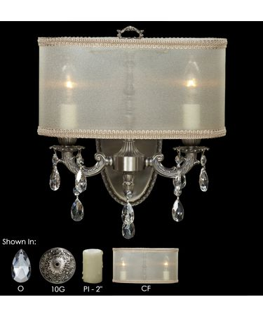 Shown in Antique Silver finish with Clear Precision Teardrop crystal, Crystal Frost shade and Pale Ivory Wax Candle Cover